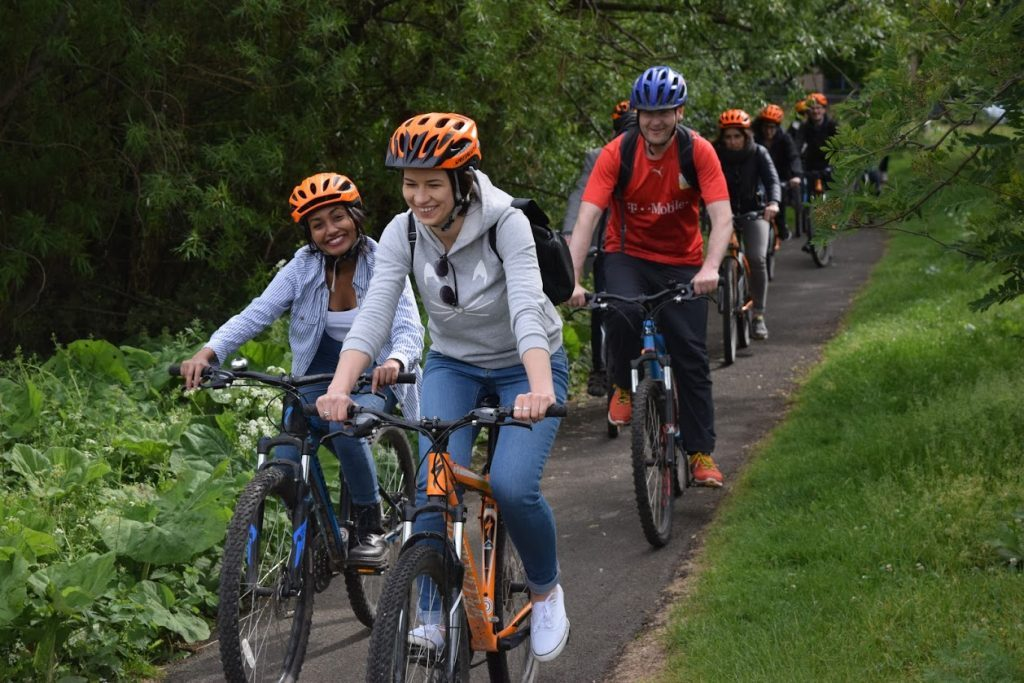 Cyclists on a Welcoming bike ride