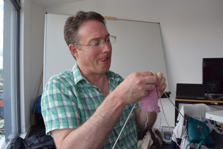 David tries really hard at knitting!