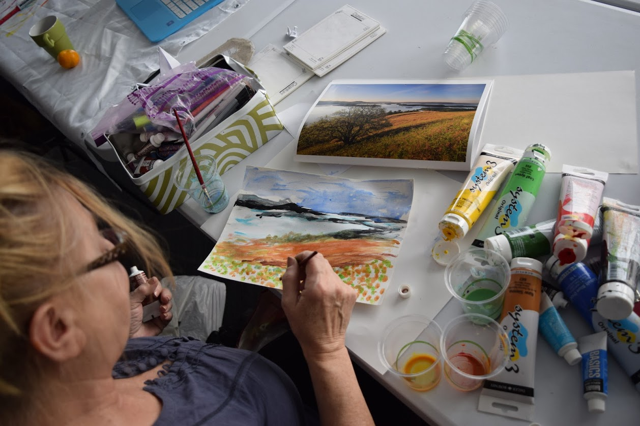 Participant painting at Creative Space